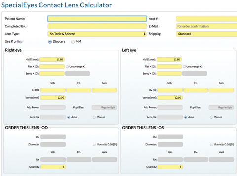 Fig. 3. A custom toric lens was made for the patient using the SpecialEyes Contact Lens Calculator.