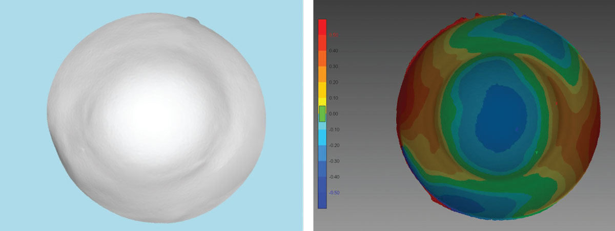 Fig 9. (Left) A 3D printed model from an initial EyePrint impression is used to design the customized prosthetic. (Right) This corneo-scleral profile map is also constructed from the 3D printed impression.